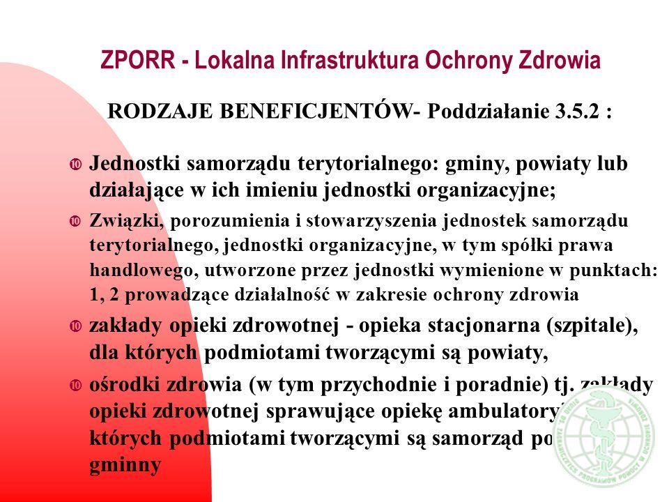 ZPORR - Lokalna Infrastruktura Ochrony Zdrowia Jednostki samorządu terytorialnego: gminy, powiaty lub działające w ich imieniu jednostki organizacyjne