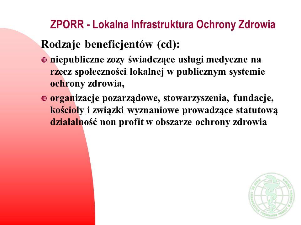 ZPORR - Lokalna Infrastruktura Ochrony Zdrowia Rodzaje beneficjentów (cd): niepubliczne zozy świadczące usługi medyczne na rzecz społeczności lokalnej