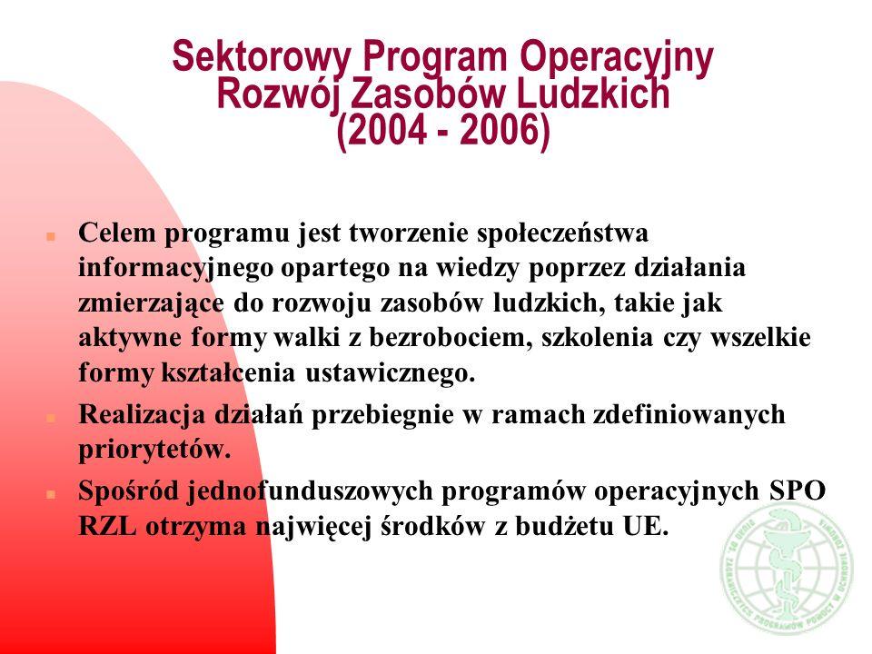 Sektorowy Program Operacyjny Rozwój Zasobów Ludzkich (2004 - 2006) n Celem programu jest tworzenie społeczeństwa informacyjnego opartego na wiedzy pop