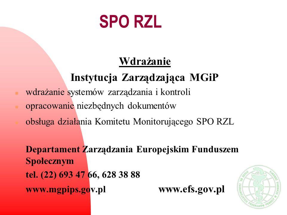 Wdrażanie Instytucja Zarządzająca MGiP n wdrażanie systemów zarządzania i kontroli n opracowanie niezbędnych dokumentów n obsługa działania Komitetu M
