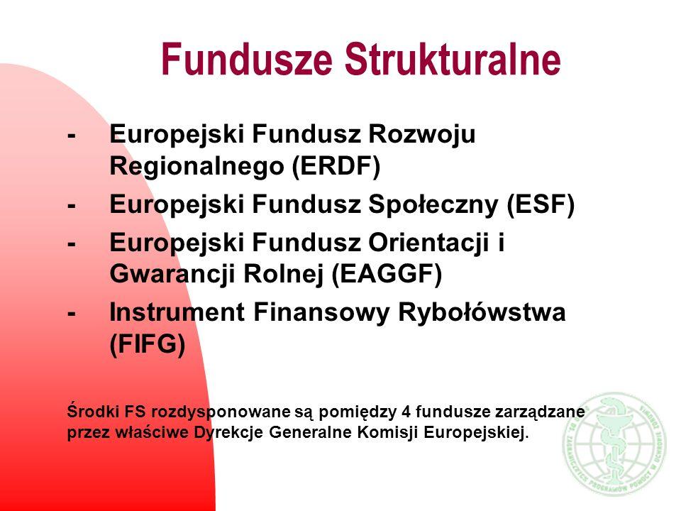 Fundusz Spójności n utworzony na mocy Traktatu z Maastricht w 1993roku n kierowany jest do poszczególnych krajów (a nie regionów) n finansuje projekty przekraczające 10 mln euro w zakresie transportu i ochrony środowiska n oceny projektów dokonuje Komisja Europejska i decyduje o poziomie pomocy