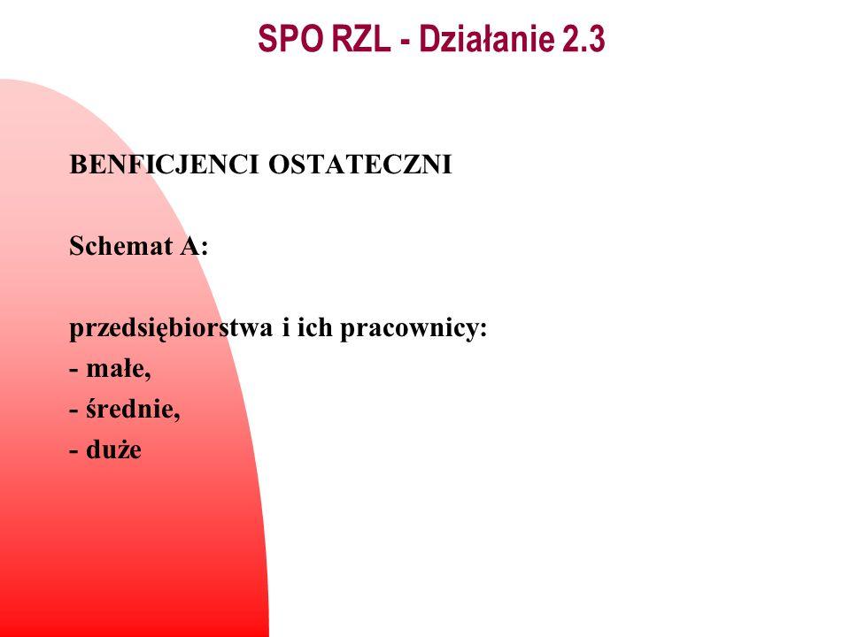 BENFICJENCI OSTATECZNI Schemat A: przedsiębiorstwa i ich pracownicy: - małe, - średnie, - duże SPO RZL - Działanie 2.3