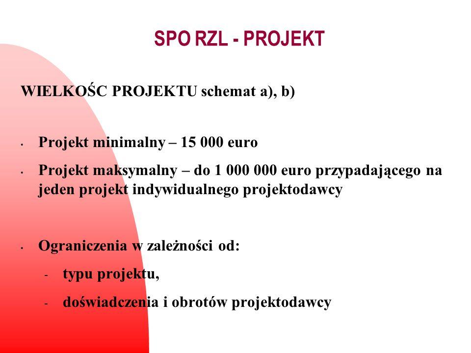 WIELKOŚC PROJEKTU schemat a), b) Projekt minimalny – 15 000 euro Projekt maksymalny – do 1 000 000 euro przypadającego na jeden projekt indywidualnego