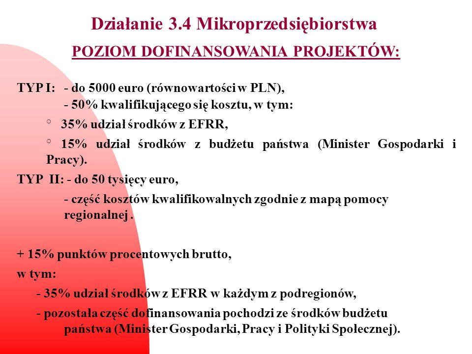 Działanie 3.4 Mikroprzedsiębiorstwa POZIOM DOFINANSOWANIA PROJEKTÓW: TYP I: - do 5000 euro (równowartości w PLN), - 50% kwalifikującego się kosztu, w