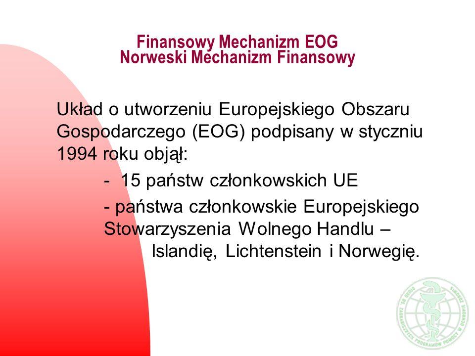 Finansowy Mechanizm EOG Norweski Mechanizm Finansowy Układ o utworzeniu Europejskiego Obszaru Gospodarczego (EOG) podpisany w styczniu 1994 roku objął