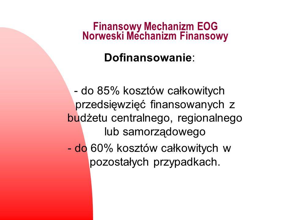 Finansowy Mechanizm EOG Norweski Mechanizm Finansowy Dofinansowanie: - do 85% kosztów całkowitych przedsięwzięć finansowanych z budżetu centralnego, r