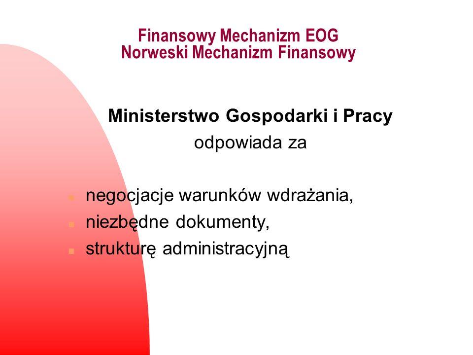 Finansowy Mechanizm EOG Norweski Mechanizm Finansowy Ministerstwo Gospodarki i Pracy odpowiada za n negocjacje warunków wdrażania, n niezbędne dokumen