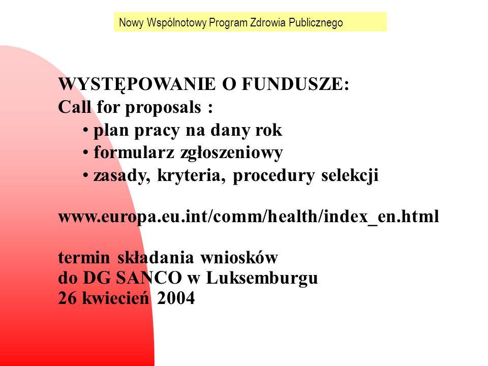 WYSTĘPOWANIE O FUNDUSZE: Call for proposals : plan pracy na dany rok formularz zgłoszeniowy zasady, kryteria, procedury selekcji www.europa.eu.int/com