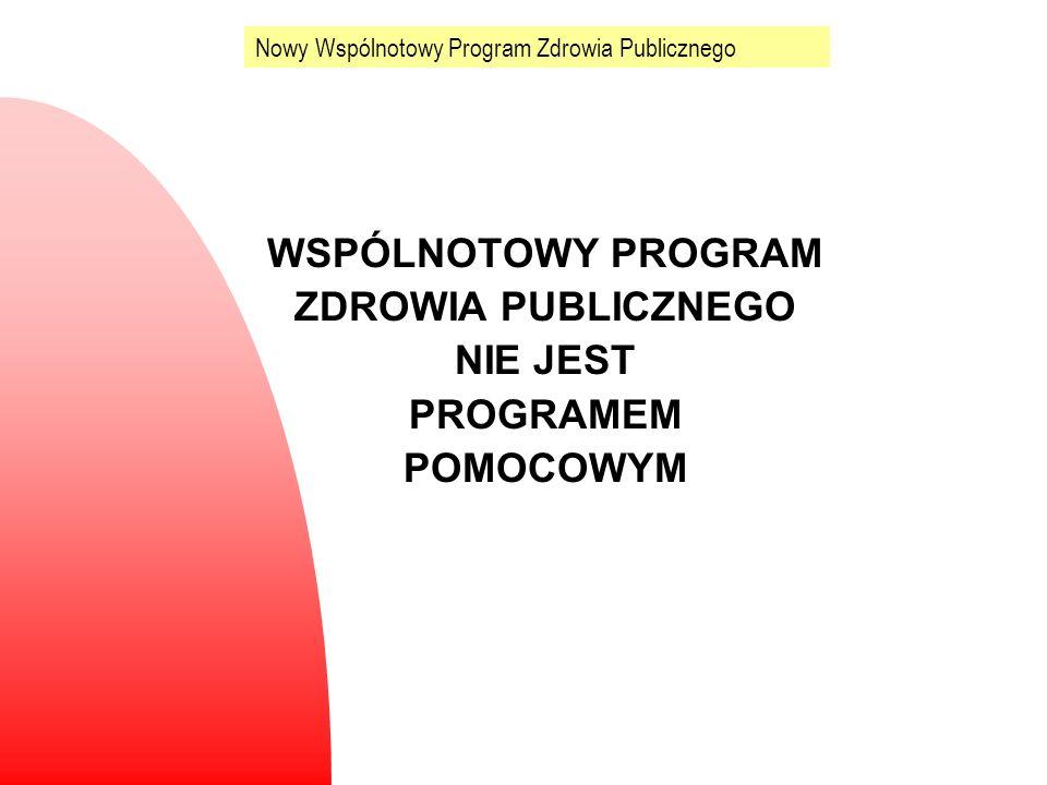 WSPÓLNOTOWY PROGRAM ZDROWIA PUBLICZNEGO NIE JEST PROGRAMEM POMOCOWYM Nowy Wspólnotowy Program Zdrowia Publicznego