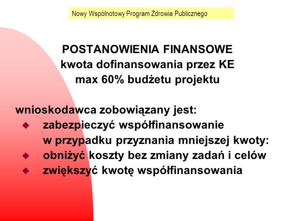 Nowy Wspólnotowy Program Zdrowia Publicznego POSTANOWIENIA FINANSOWE kwota dofinansowania przez KE max 60% budżetu projektu wnioskodawca zobowiązany j