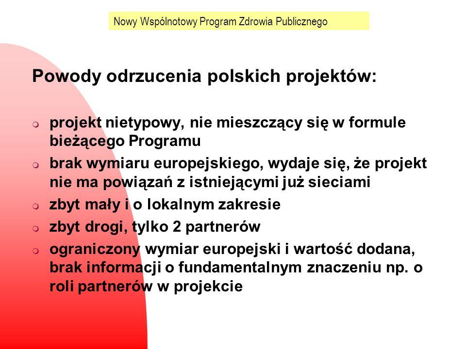 Nowy Wspólnotowy Program Zdrowia Publicznego Powody odrzucenia polskich projektów: m projekt nietypowy, nie mieszczący się w formule bieżącego Program