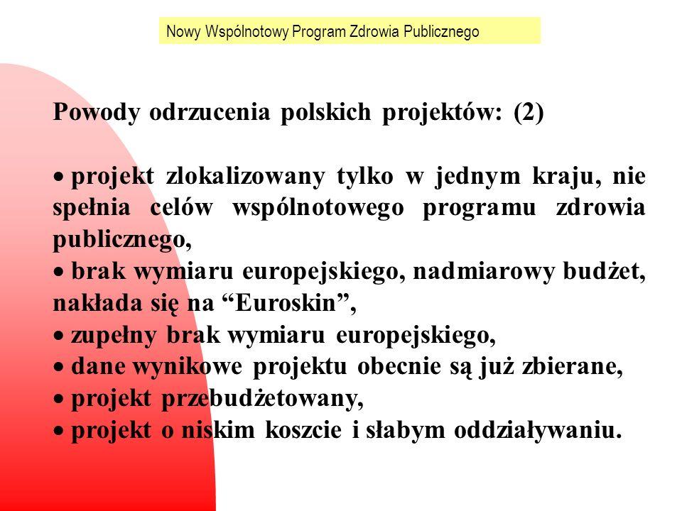 Nowy Wspólnotowy Program Zdrowia Publicznego Powody odrzucenia polskich projektów: (2) projekt zlokalizowany tylko w jednym kraju, nie spełnia celów w