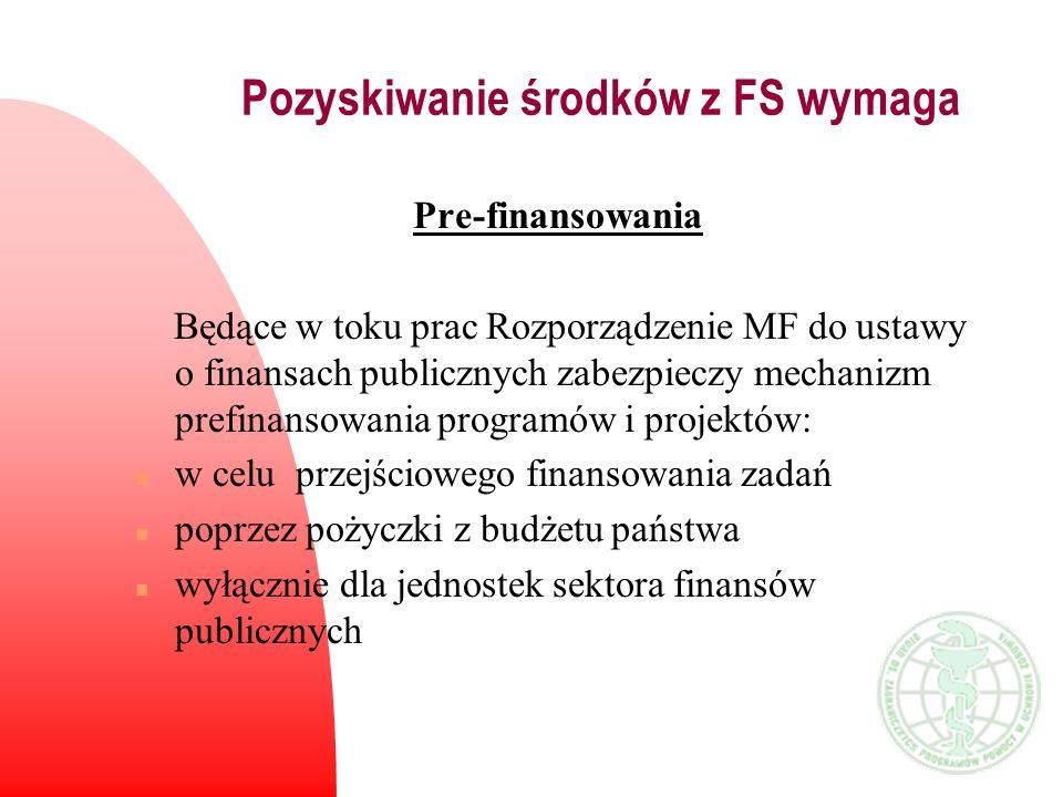 Pozyskiwanie środków z FS wymaga Pre-finansowania Będące w toku prac Rozporządzenie MF do ustawy o finansach publicznych zabezpieczy mechanizm prefina