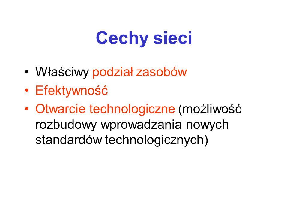 Cechy sieci Właściwy podział zasobów Efektywność Otwarcie technologiczne (możliwość rozbudowy wprowadzania nowych standardów technologicznych)