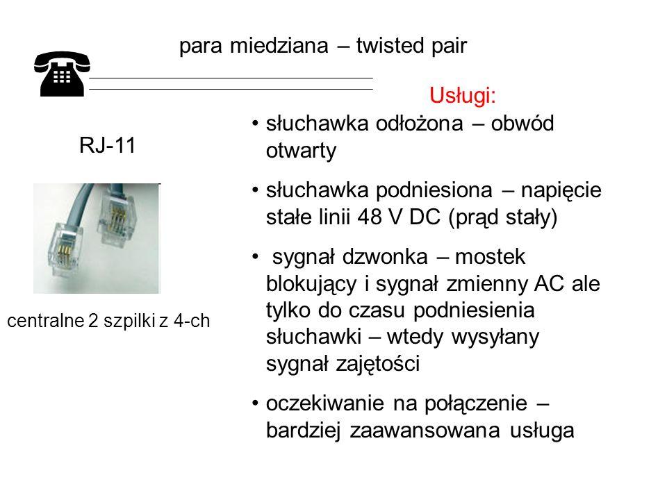 RJ-11 centralne 2 szpilki z 4-ch słuchawka odłożona – obwód otwarty słuchawka podniesiona – napięcie stałe linii 48 V DC (prąd stały) sygnał dzwonka – mostek blokujący i sygnał zmienny AC ale tylko do czasu podniesienia słuchawki – wtedy wysyłany sygnał zajętości oczekiwanie na połączenie – bardziej zaawansowana usługa para miedziana – twisted pair Usługi:
