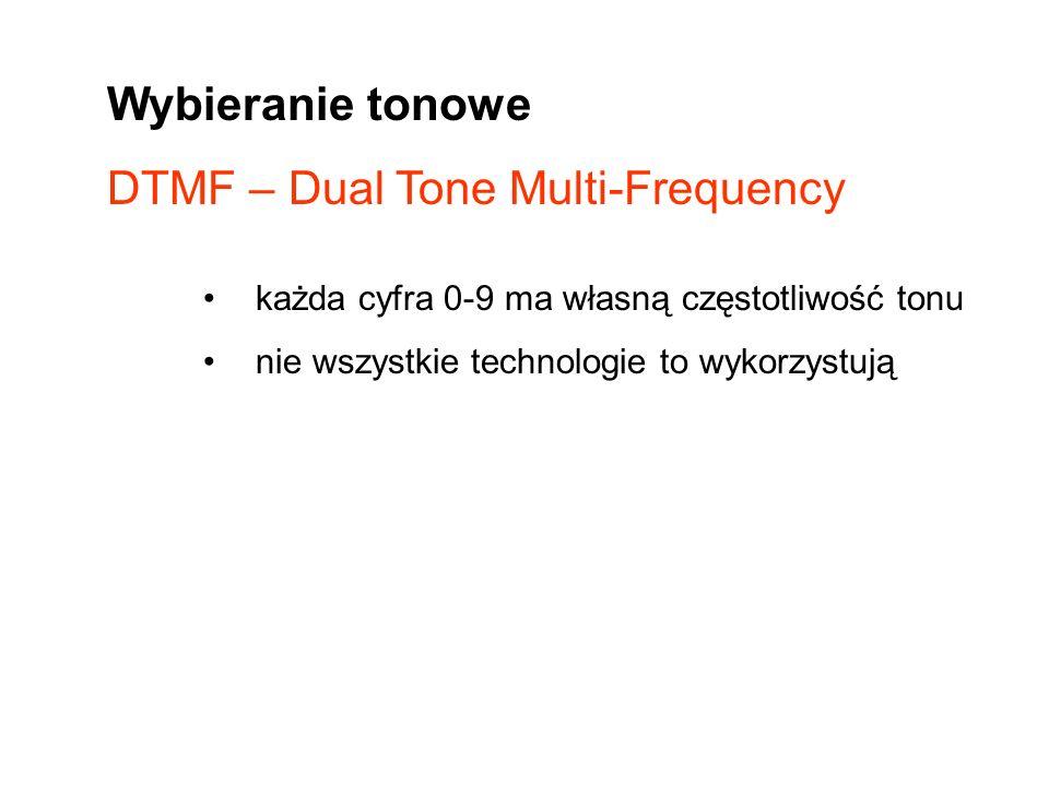Wybieranie tonowe DTMF – Dual Tone Multi-Frequency każda cyfra 0-9 ma własną częstotliwość tonu nie wszystkie technologie to wykorzystują
