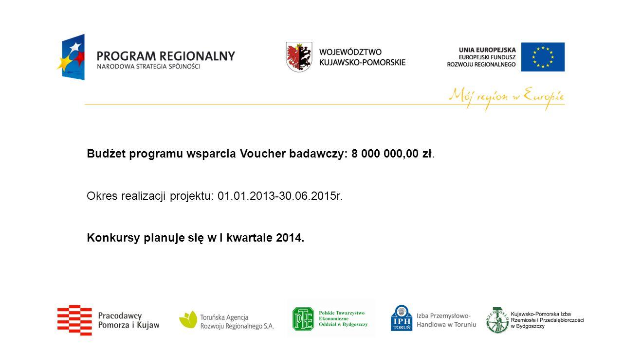 Budżet programu wsparcia Voucher badawczy: 8 000 000,00 zł. Okres realizacji projektu: 01.01.2013-30.06.2015r. Konkursy planuje się w I kwartale 2014.