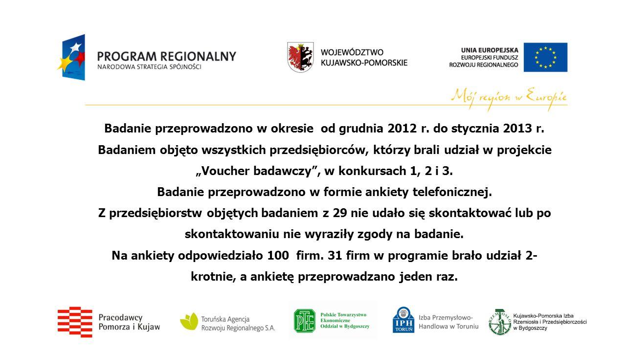 Badanie przeprowadzono w okresie od grudnia 2012 r. do stycznia 2013 r. Badaniem objęto wszystkich przedsiębiorców, którzy brali udział w projekcie Vo