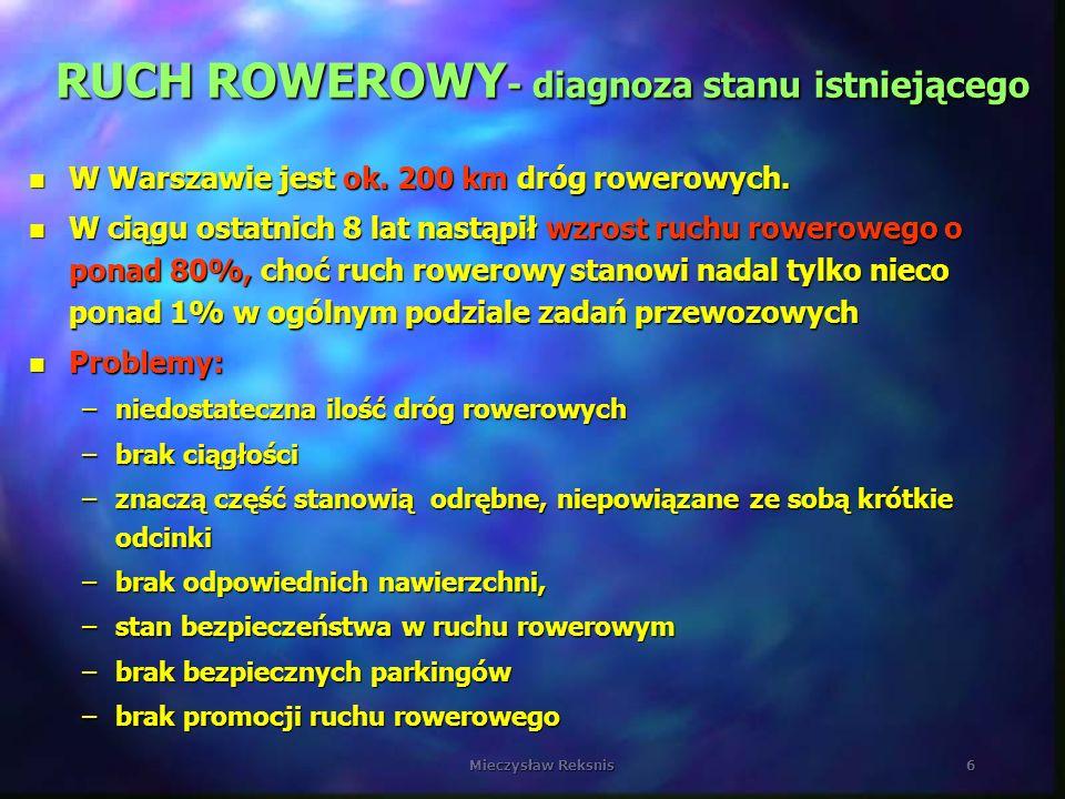 Mieczysław Reksnis6 RUCH ROWEROWY - diagnoza stanu istniejącego n W Warszawie jest ok. 200 km dróg rowerowych. n W ciągu ostatnich 8 lat nastąpił wzro