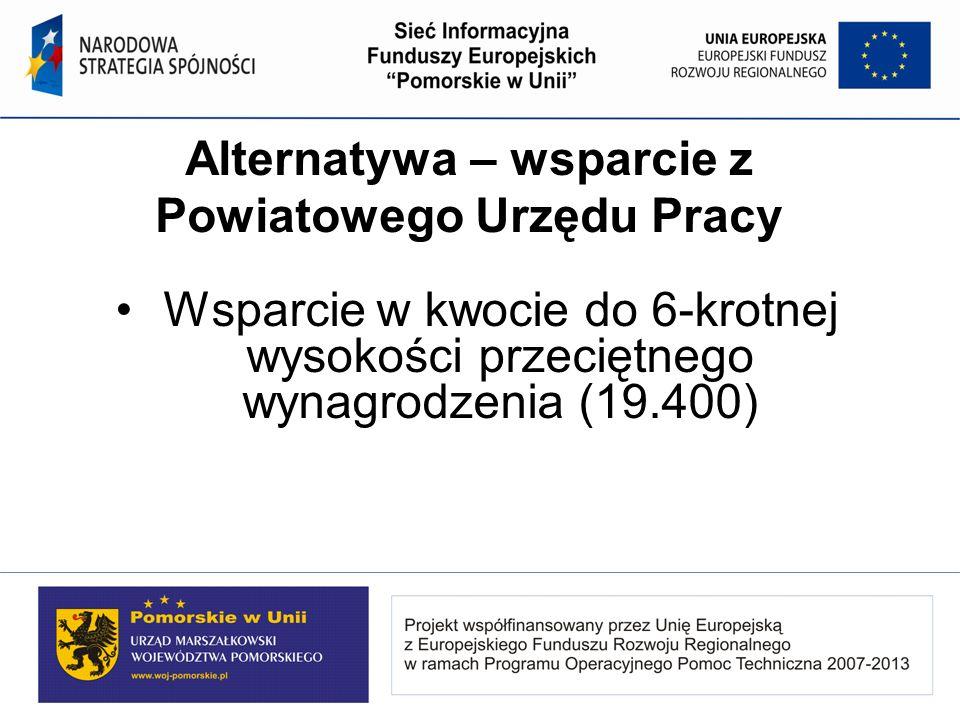 Alternatywa – wsparcie z Powiatowego Urzędu Pracy Wsparcie w kwocie do 6-krotnej wysokości przeciętnego wynagrodzenia (19.400)