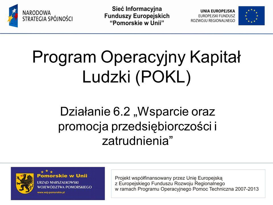 Program Operacyjny Kapitał Ludzki (POKL) Działanie 6.2 Wsparcie oraz promocja przedsiębiorczości i zatrudnienia