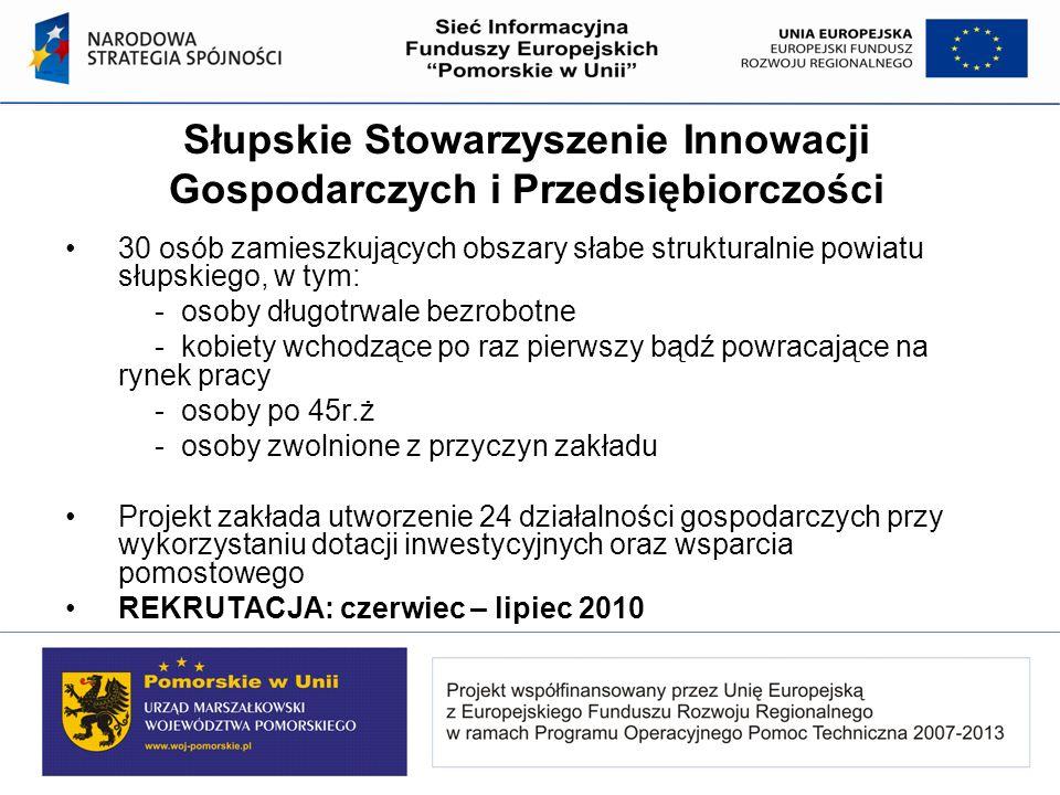Słupskie Stowarzyszenie Innowacji Gospodarczych i Przedsiębiorczości 30 osób zamieszkujących obszary słabe strukturalnie powiatu słupskiego, w tym: -