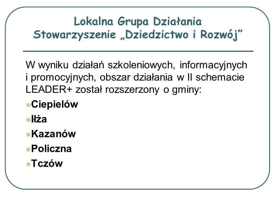 W wyniku działań szkoleniowych, informacyjnych i promocyjnych, obszar działania w II schemacie LEADER+ został rozszerzony o gminy: Ciepielów Iłża Kaza