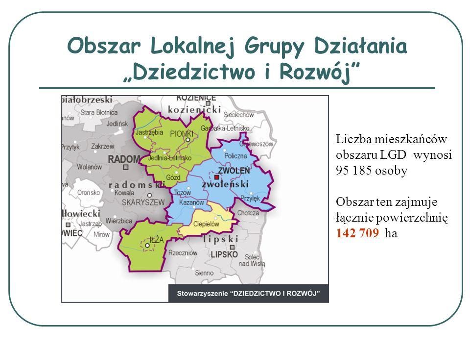 Obszar Lokalnej Grupy Działania Dziedzictwo i Rozwój Liczba mieszkańców obszaru LGD wynosi 95 185 osoby Obszar ten zajmuje łącznie powierzchnię 142 70