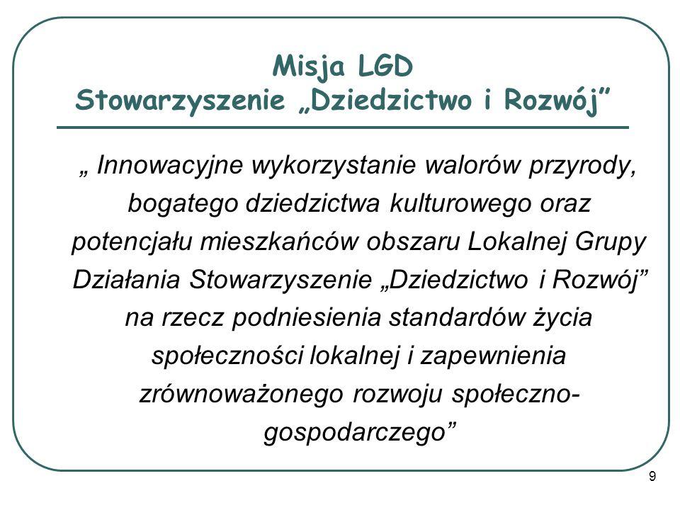 Realizacja misji LGD Stowarzyszenie Dziedzictwo i Rozwój Misja realizowana będzie przez konkretne działania: Wykorzystanie walorów przyrodniczych jako cennych atutów obszaru LGD Dziedzictwo i Rozwój, Utworzenie konkurencyjnej oferty turystycznej dla mikroregionu LGD Dziedzictwo i Rozwój, Podejmowanie działań w zakresie rozwoju turystyki jako alternatywa dla rozwoju obszarów wiejskich, 10