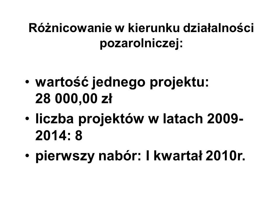 Różnicowanie w kierunku działalności pozarolniczej: wartość jednego projektu: 28 000,00 zł liczba projektów w latach 2009- 2014: 8 pierwszy nabór: I kwartał 2010r.