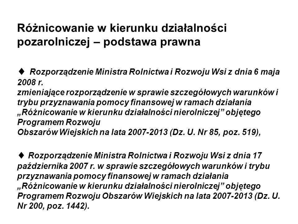 Różnicowanie w kierunku działalności pozarolniczej – podstawa prawna Rozporządzenie Ministra Rolnictwa i Rozwoju Wsi z dnia 6 maja 2008 r. zmieniające