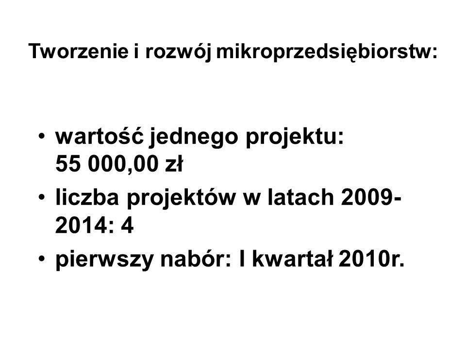 Tworzenie i rozwój mikroprzedsiębiorstw: wartość jednego projektu: 55 000,00 zł liczba projektów w latach 2009- 2014: 4 pierwszy nabór: I kwartał 2010r.
