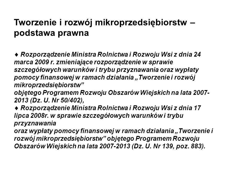 Tworzenie i rozwój mikroprzedsiębiorstw – podstawa prawna Rozporządzenie Ministra Rolnictwa i Rozwoju Wsi z dnia 24 marca 2009 r. zmieniające rozporzą