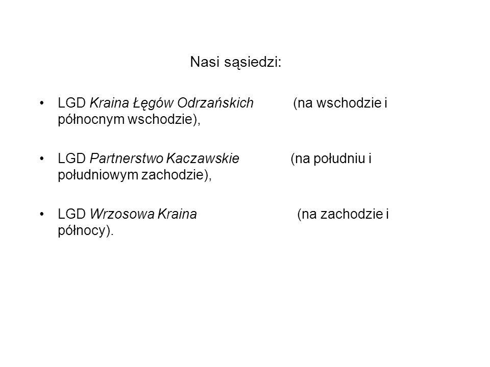 Nasi sąsiedzi: LGD Kraina Łęgów Odrzańskich (na wschodzie i północnym wschodzie), LGD Partnerstwo Kaczawskie (na południu i południowym zachodzie), LG