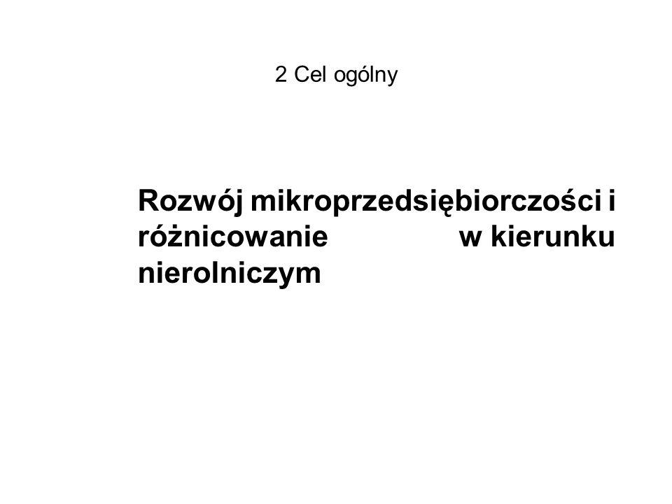 2 Cel ogólny Rozwój mikroprzedsiębiorczości i różnicowanie w kierunku nierolniczym