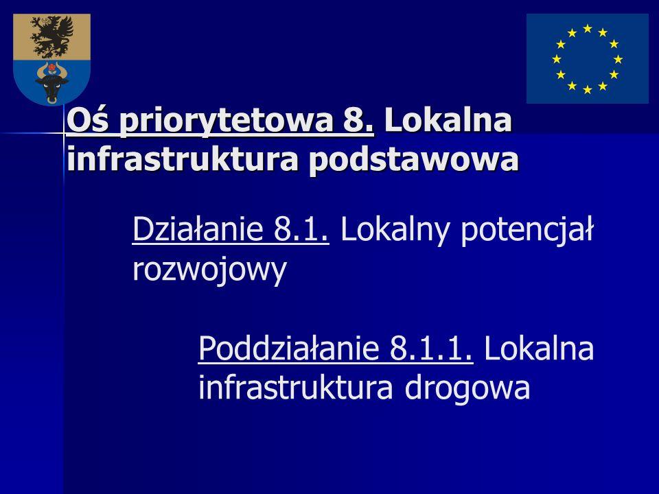Oś priorytetowa 8. Lokalna infrastruktura podstawowa Oś priorytetowa 8. Lokalna infrastruktura podstawowa Działanie 8.1. Lokalny potencjał rozwojowy P