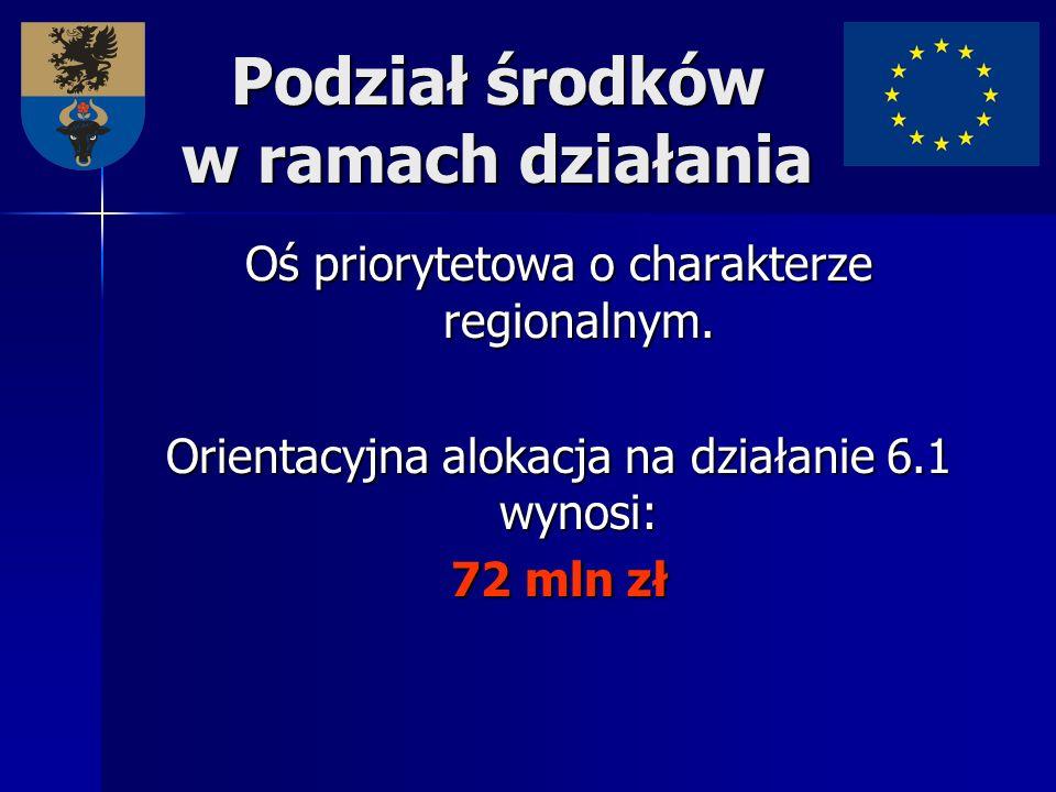 Podział środków w ramach działania Oś priorytetowa o charakterze regionalnym. Orientacyjna alokacja na działanie 6.1 wynosi: 72 mln zł