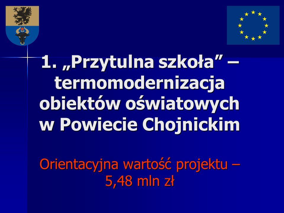1. Przytulna szkoła – termomodernizacja obiektów oświatowych w Powiecie Chojnickim Orientacyjna wartość projektu – 5,48 mln zł