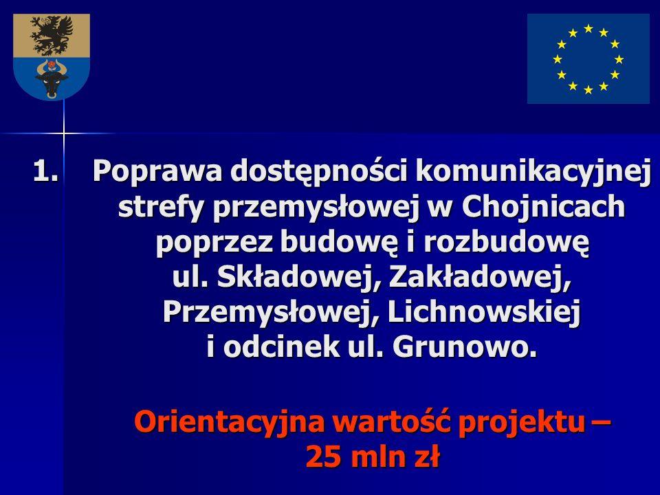 1.Poprawa dostępności komunikacyjnej strefy przemysłowej w Chojnicach poprzez budowę i rozbudowę ul. Składowej, Zakładowej, Przemysłowej, Lichnowskiej