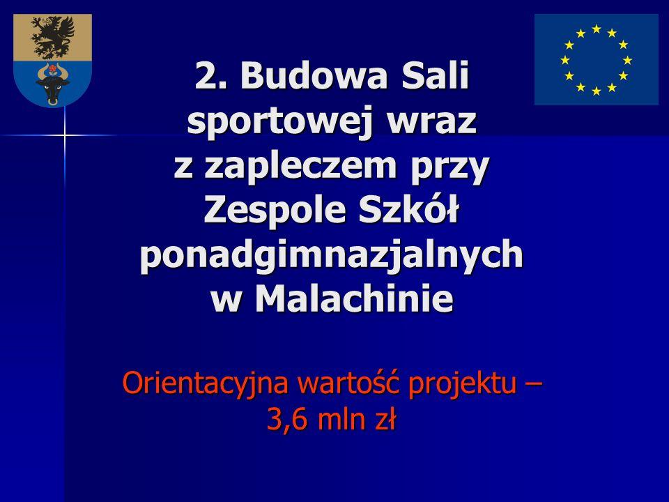 2. Budowa Sali sportowej wraz z zapleczem przy Zespole Szkół ponadgimnazjalnych w Malachinie Orientacyjna wartość projektu – 3,6 mln zł