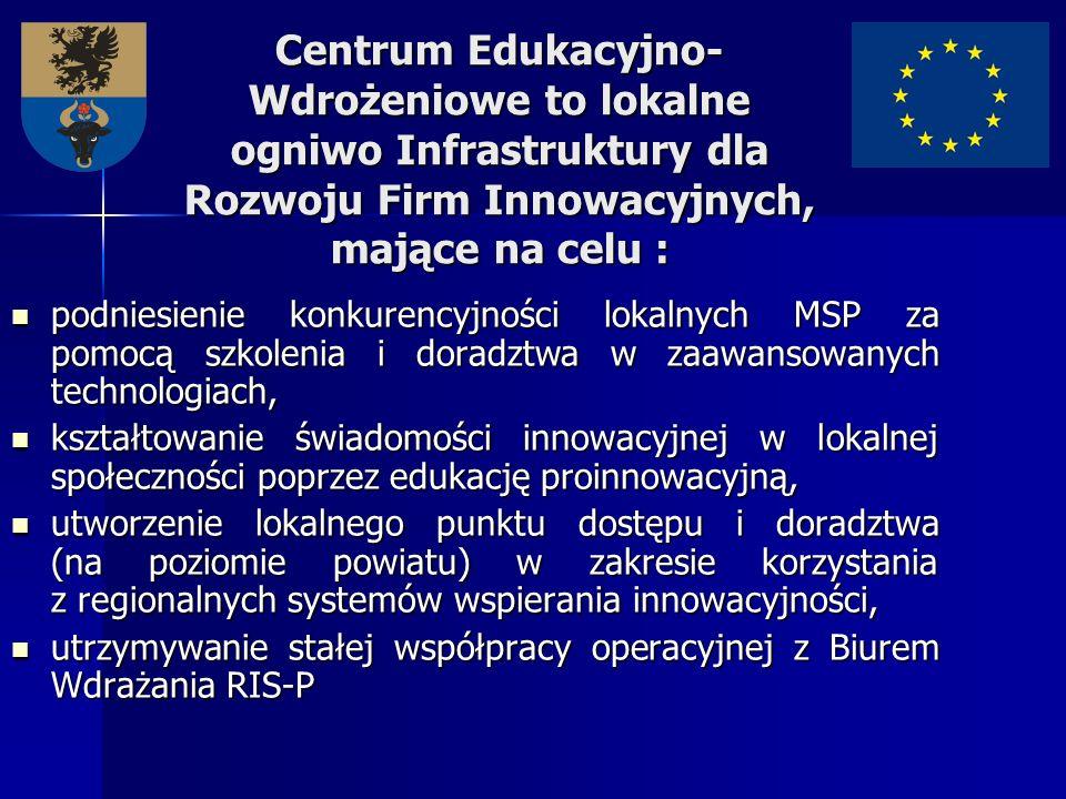 Centrum Edukacyjno- Wdrożeniowe to lokalne ogniwo Infrastruktury dla Rozwoju Firm Innowacyjnych, mające na celu : podniesienie konkurencyjności lokaln