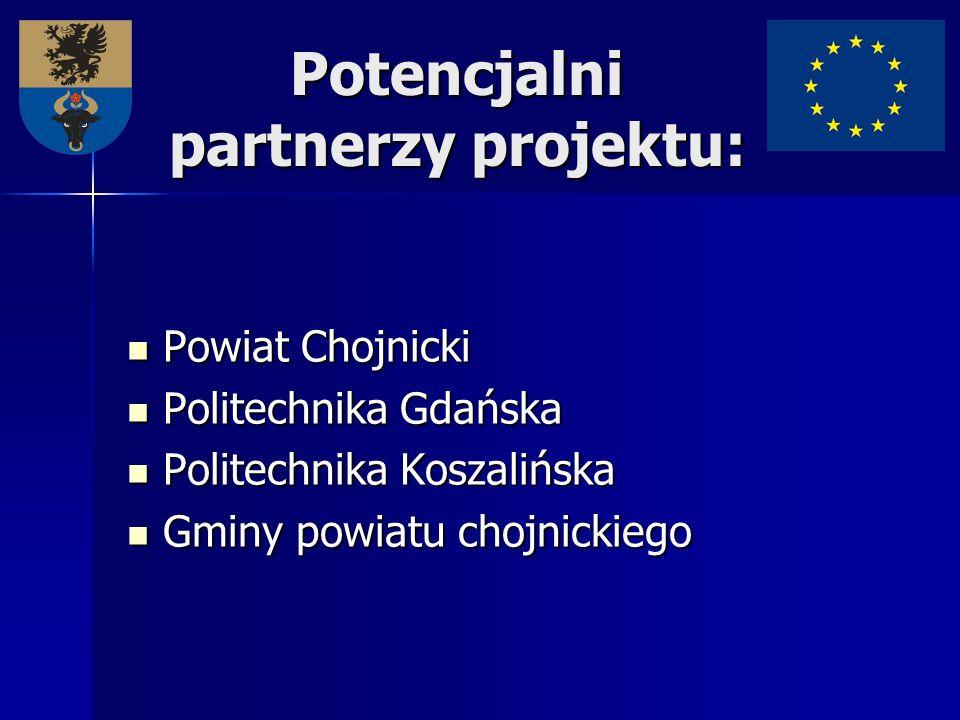 Potencjalni partnerzy projektu: Powiat Chojnicki Powiat Chojnicki Politechnika Gdańska Politechnika Gdańska Politechnika Koszalińska Politechnika Kosz