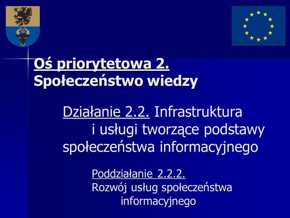 Oś priorytetowa 2. Społeczeństwo wiedzy Oś priorytetowa 2. Społeczeństwo wiedzy Działanie 2.2. Infrastruktura i usługi tworzące podstawy społeczeństwa