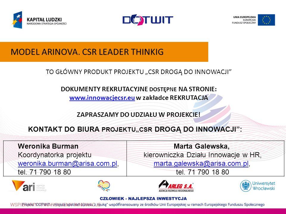 TO GŁÓWNY PRODUKT PROJEKTU CSR DROGĄ DO INNOWACJI DOKUMENTY REKRUTACYJNE DOSTĘPNE NA STRONIE: www.innowacjecsr.euwww.innowacjecsr.eu w zakładce REKRUT