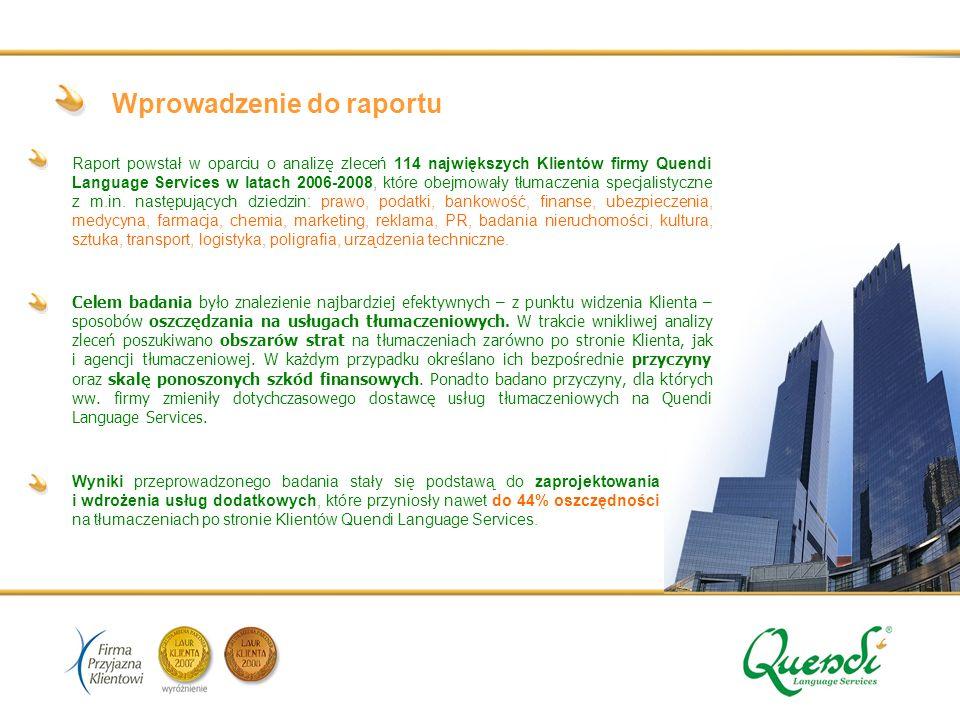 Wprowadzenie do raportu Raport powstał w oparciu o analizę zleceń 114 największych Klientów firmy Quendi Language Services w latach 2006-2008, które obejmowały tłumaczenia specjalistyczne z m.in.
