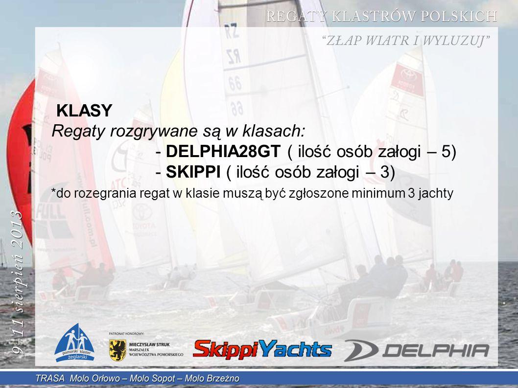 KLASY Regaty rozgrywane są w klasach: - DELPHIA28GT ( ilość osób załogi – 5) - SKIPPI ( ilość osób załogi – 3) *do rozegrania regat w klasie muszą być zgłoszone minimum 3 jachty