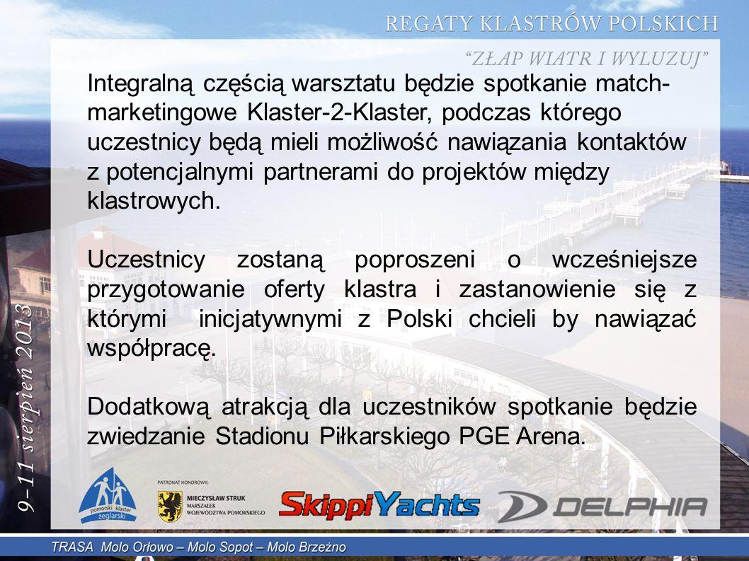 Integralną częścią warsztatu będzie spotkanie match- marketingowe Klaster-2-Klaster, podczas którego uczestnicy będą mieli możliwość nawiązania kontaktów z potencjalnymi partnerami do projektów między klastrowych.