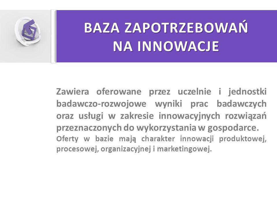 BAZA ZAPOTRZEBOWAŃ NA INNOWACJE Zawiera oferowane przez uczelnie i jednostki badawczo-rozwojowe wyniki prac badawczych oraz usługi w zakresie innowacy