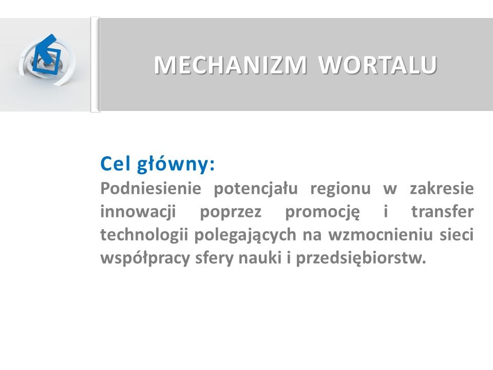 MECHANIZM WORTALU Cel główny: Podniesienie potencjału regionu w zakresie innowacji poprzez promocję i transfer technologii polegających na wzmocnieniu
