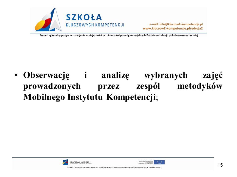 15 Obserwację i analizę wybranych zajęć prowadzonych przez zespół metodyków Mobilnego Instytutu Kompetencji;